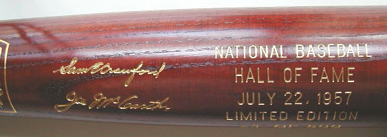 1957 Hall of Fame Induction Bat