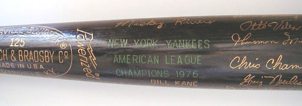 1976 New York Yankees World Series Black Bat