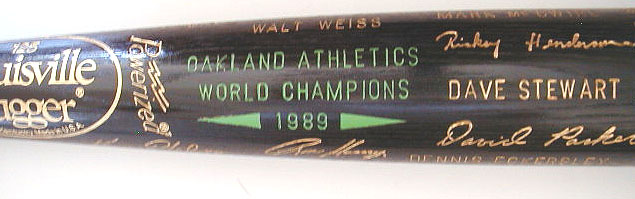 1989 Oakland Athletics World Series Bat