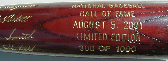 2001 Hall of Fame Induction Bat MAIN