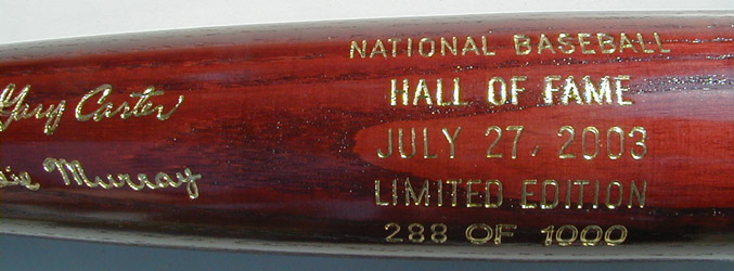 2003 Hall of Fame Induction Bat MAIN