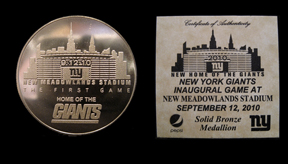 2010 New York Giants Inaugrual Game Coin MAIN