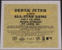 2009 All-Star Game Derek Jeter Game-Used Locker Name Plate LH705812 SWATCH