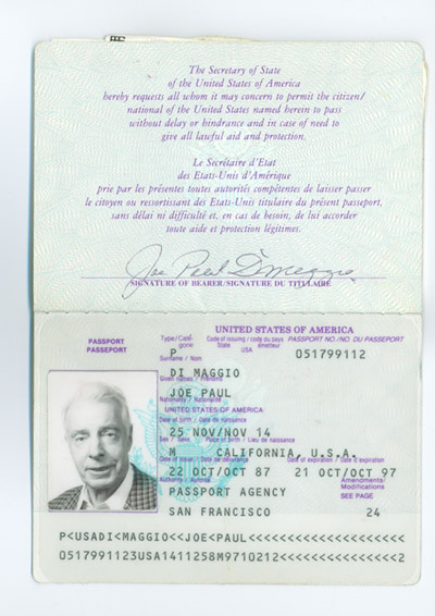 Joe DiMaggio Passport