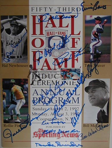 Autographed 1992 National Baseball Hall of Fame
