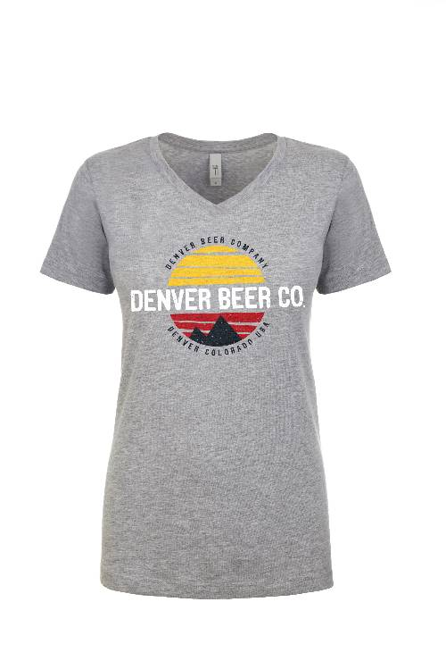Denver Beer Co Women's V-Neck with Colorado Sunset_MAIN