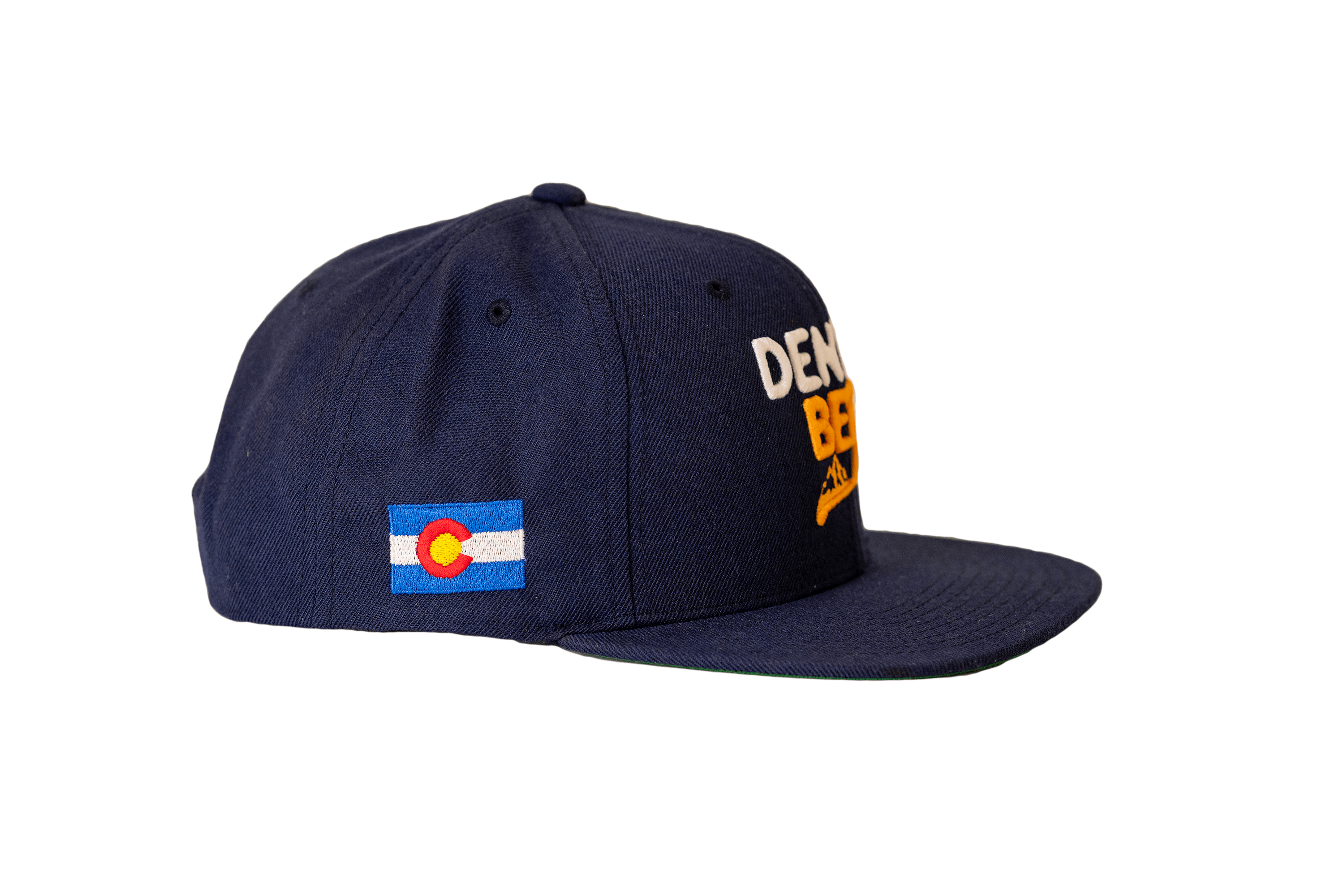 Denver Beer Co Flat Brim Hat, Snap Back, Navy Twill, with Raised Text Embroidery_SWATCH