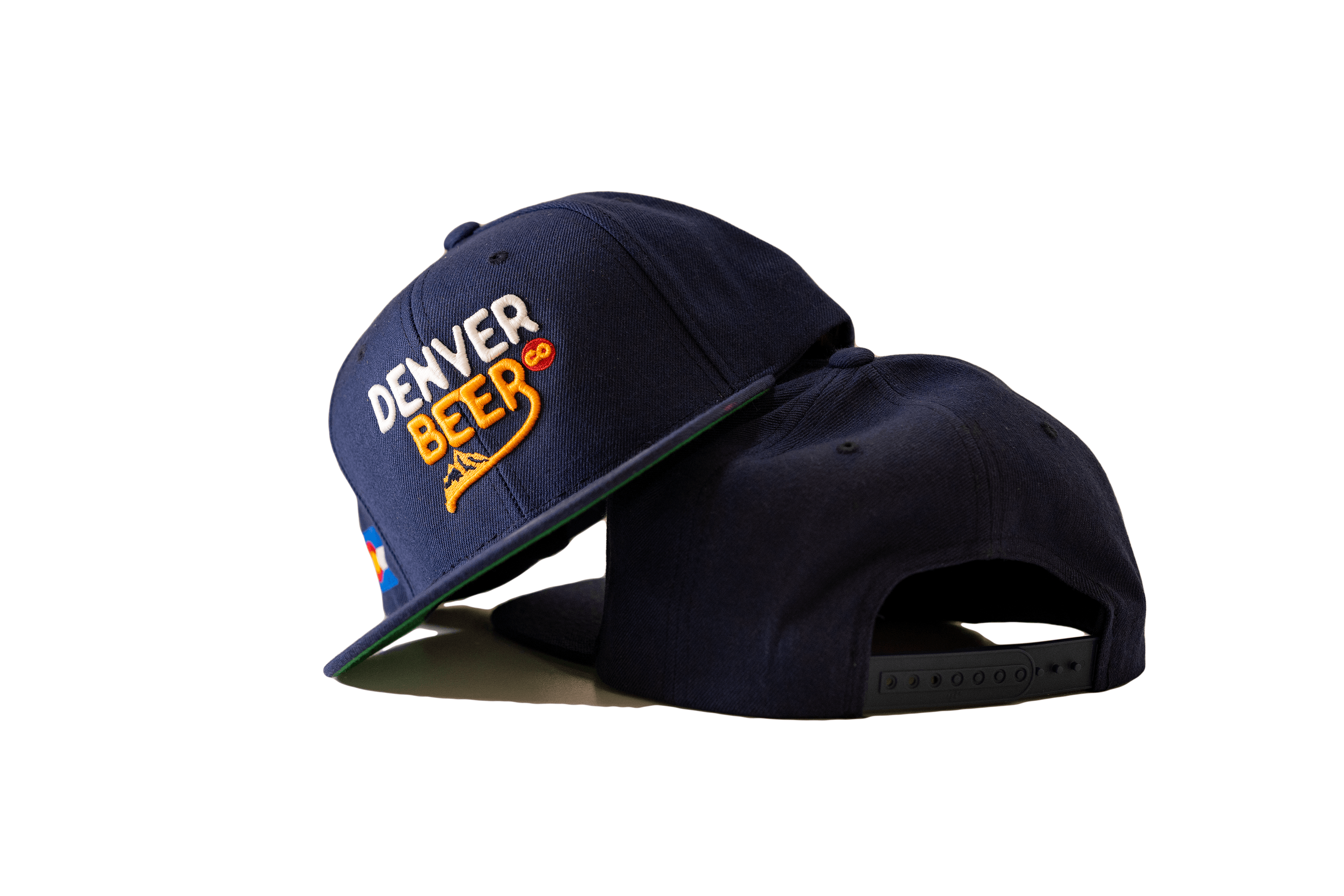 Denver Beer Co Flat Brim Hat, Snap Back, Navy Twill, with Raised Text Embroidery_MAIN