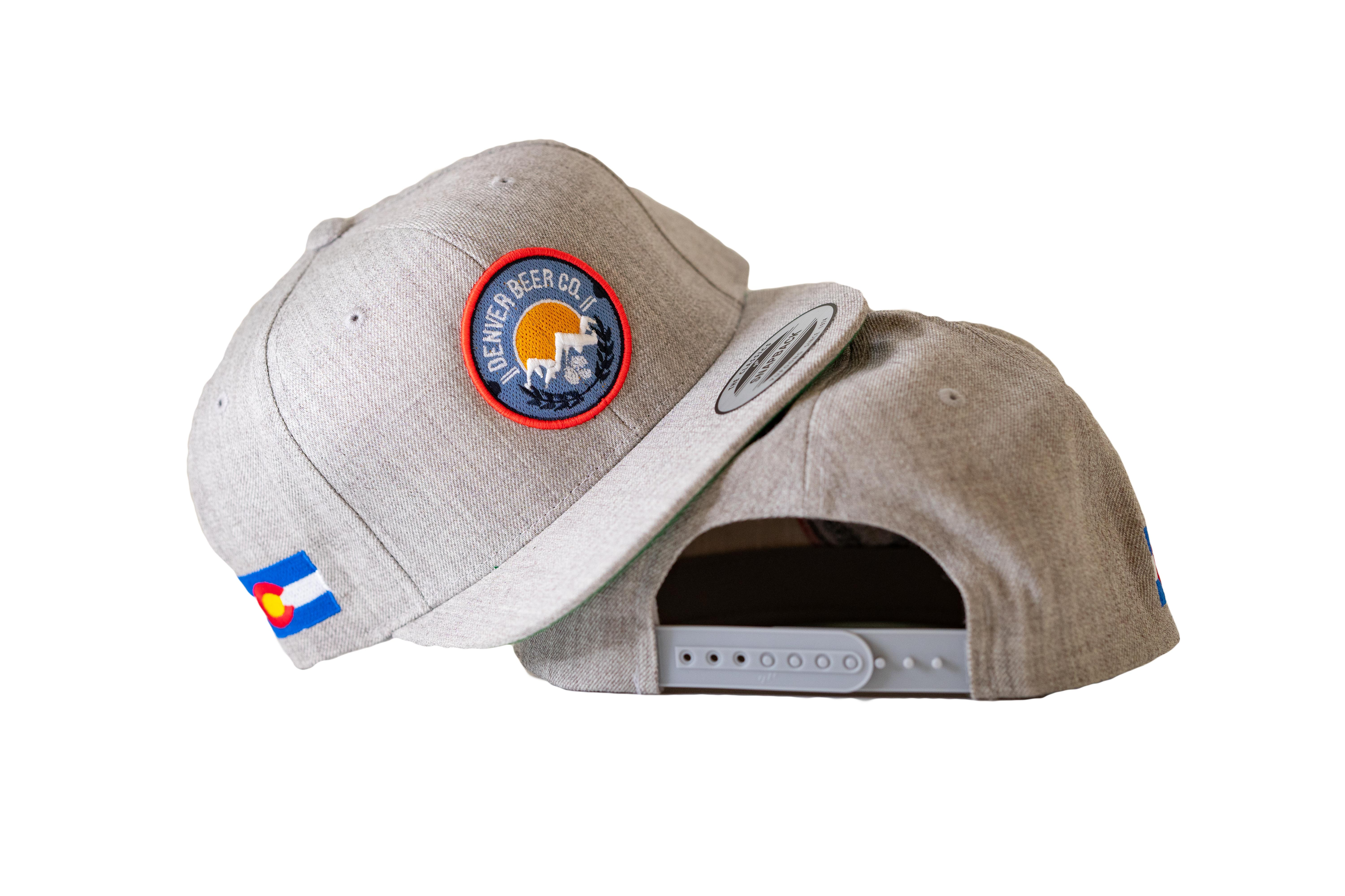 Denver Beer Co Flat Brim Hat, Snap Back, Gray Twill, with Raised Embroidery Twill Snap-back_SWATCH