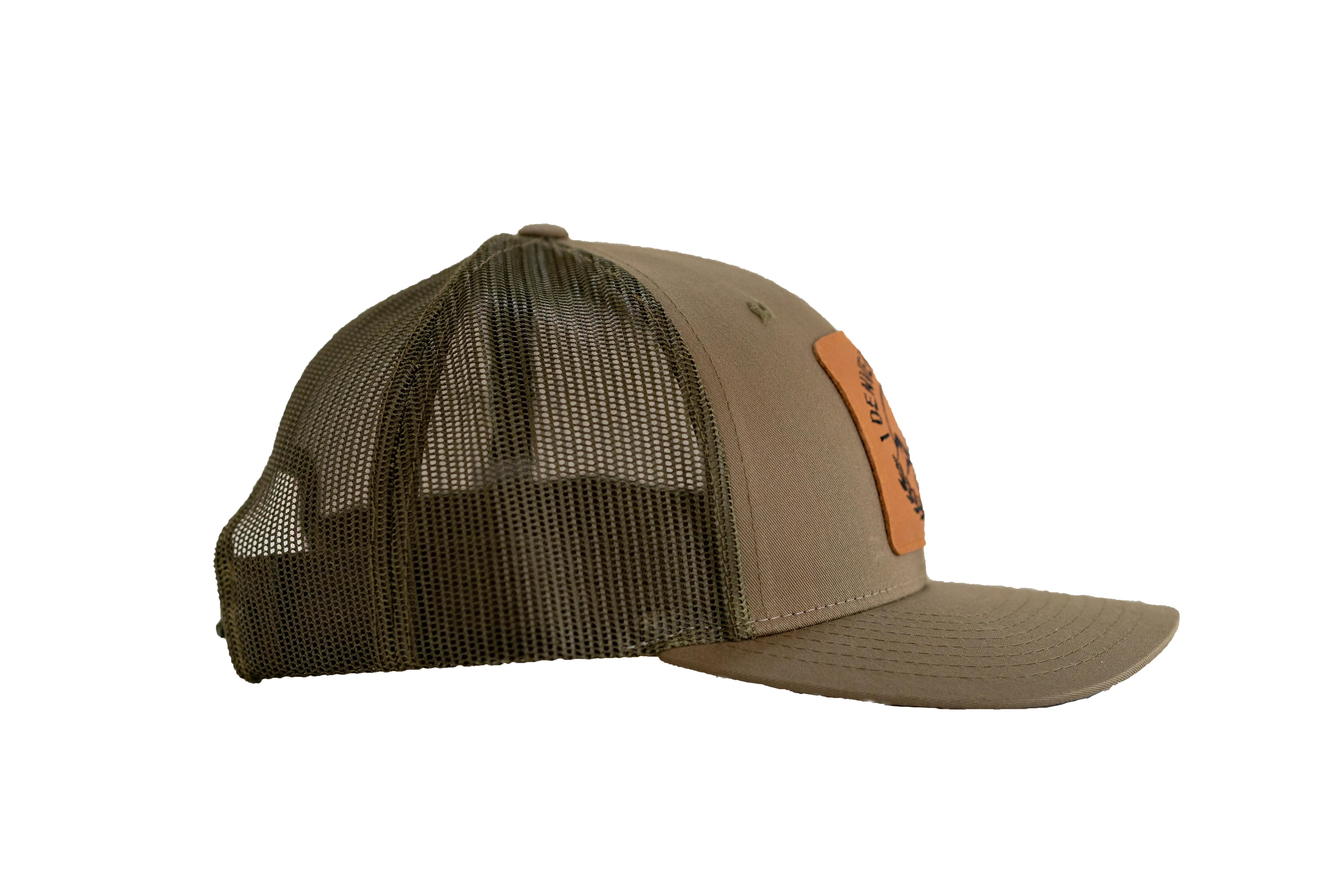 Denver Beer Co Trucker Hat, Snap Back, Olive Green, with Embroidered Leather Patch_SWATCH