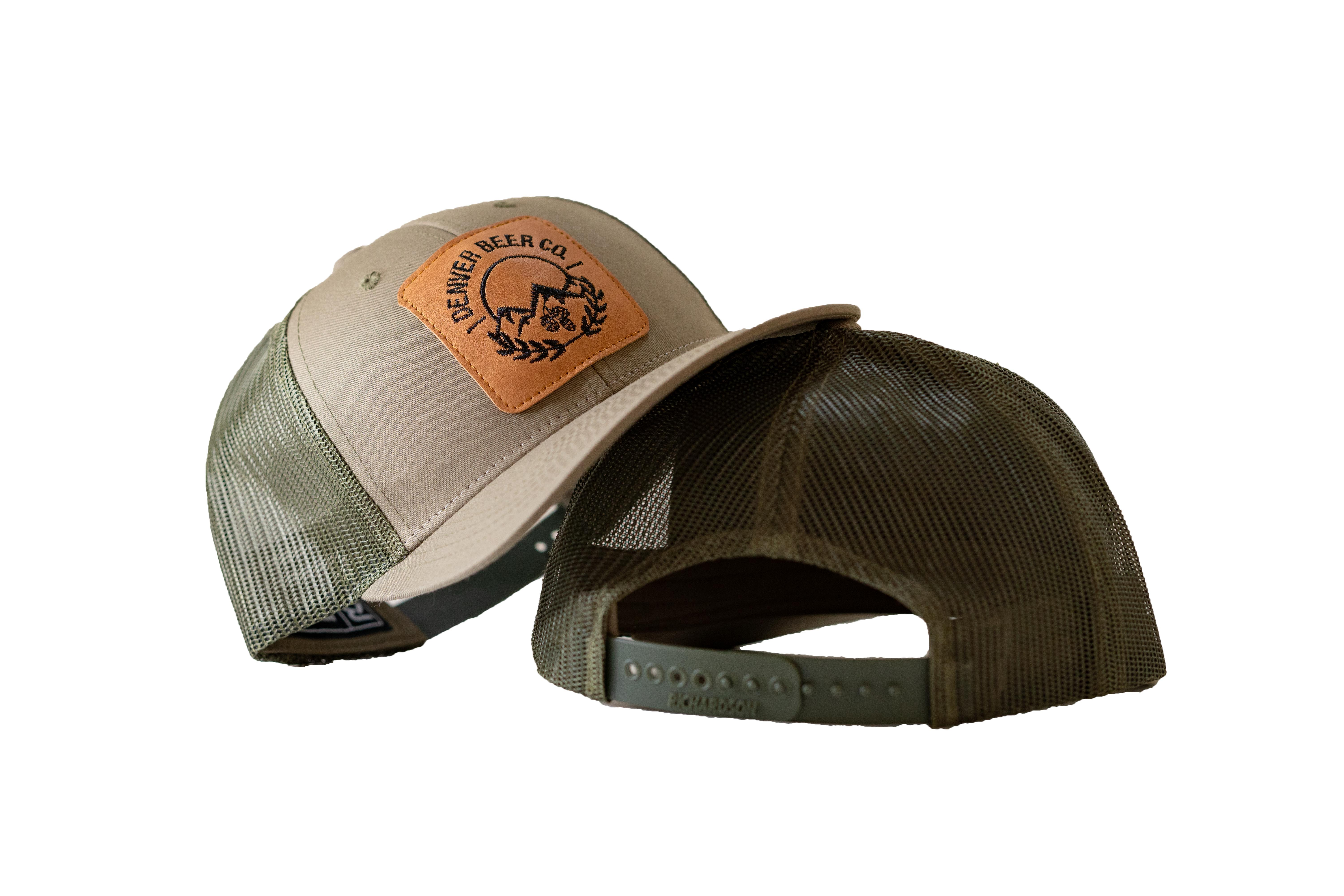 Denver Beer Co Trucker Hat, Snap Back, Olive Green, with Embroidered Leather Patch_MAIN