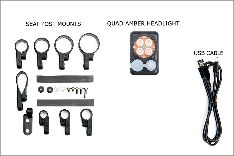 2018 Quad Amber Headlight with built in battery