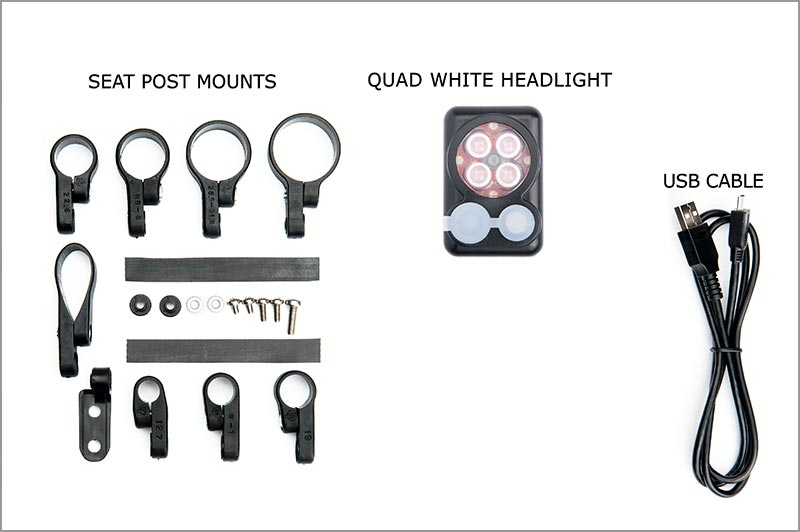 NEW 2018 Quad WHITE Headlight with built in battery