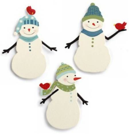 Snowman with Birds Magnet Set