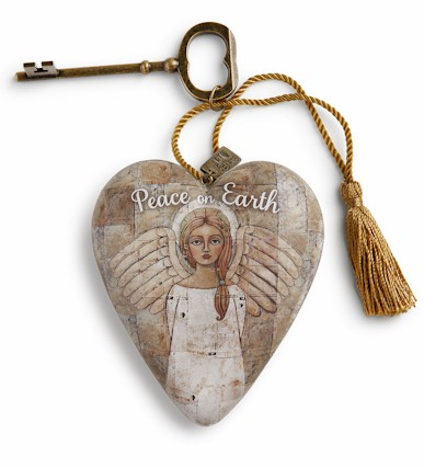 Peace on Earth Angel Art Heart