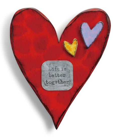 Red Carved Wooden Heart with Better Together metal tag LARGE