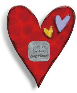 Red Carved Wooden Heart with Better Together metal tag THUMBNAIL