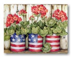 Old Glory Patriotic Flowers Note Cards