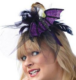 Purple Glittered Bat Headband