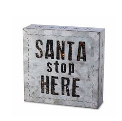 Santa Stop Here Metal Wall Art