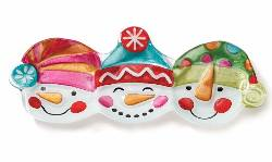Snowmen Heads Shaped Platter