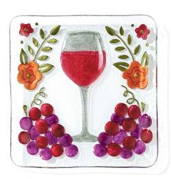 Glass Fusion Wine Glass Plate