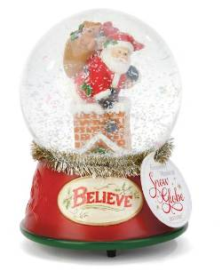 Santa in Chimney Musical Snow Globe