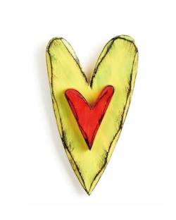 Lime Green and Red Carved Heart Wall Art THUMBNAIL