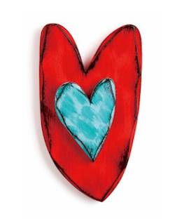 Red and Teal Carved Heart Wall Art THUMBNAIL