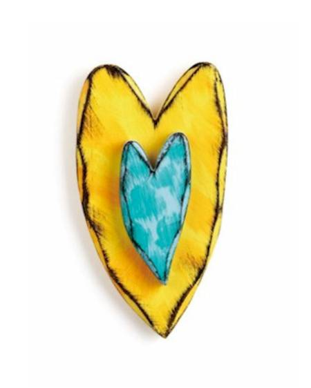 Yellow and Teal Carved Hearts Wall Art LARGE