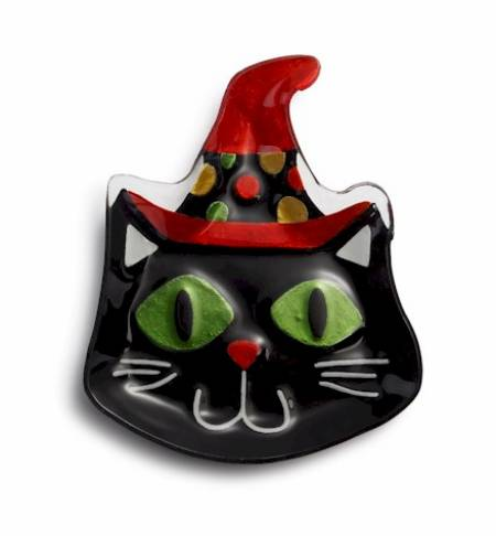 Cat with Witch Hat Plate