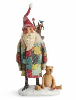 Santa with Teddy Bear and Birds