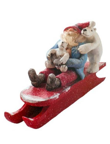 Santa and Polar Bears on Sled