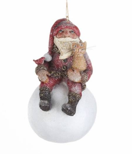 Santa on Snowball Ornament