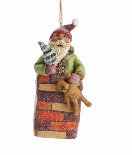 Santa in Chimney Ornament