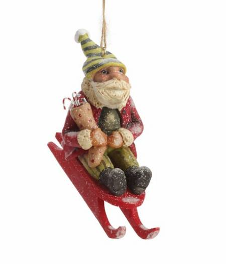 Santa on Sled Ornament_LARGE