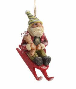 Santa on Sled Ornament