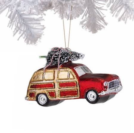 Station Wagon Glass Ornament