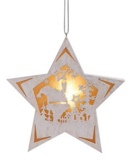 Lit Laser Cut Santa Ornament LARGE