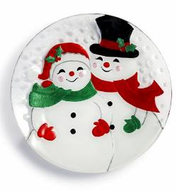 Snow Couple Round Plate