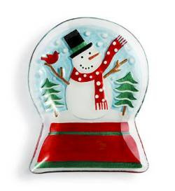 Snowman Snowglobe Shaped Plate