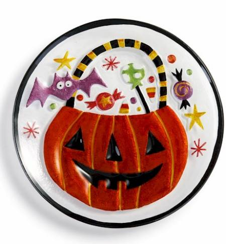 Pumpkin Bucket and Treats Round Plate