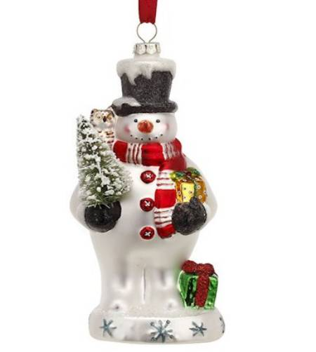 Blown Glass Snowman Ornament