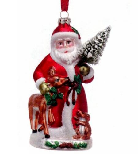 Blown Glass Woodland Santa Ornament