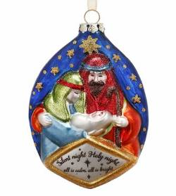 Blown Glass Holy Family Nativity Ornament THUMBNAIL