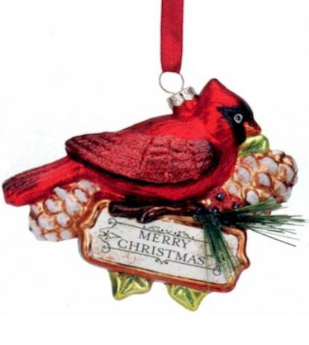 Blown Glass Cardinal Merry Christmas Ornament LARGE