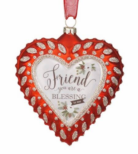 Friend Sentiment Glass Heart Ornament LARGE