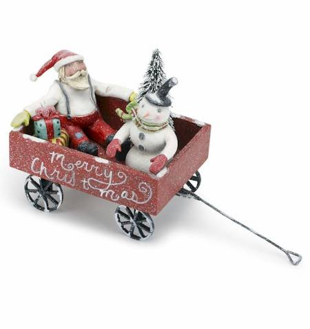 Santa and Snowman in Wagon