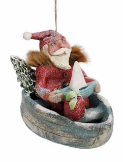 Santa in Boat Ornament