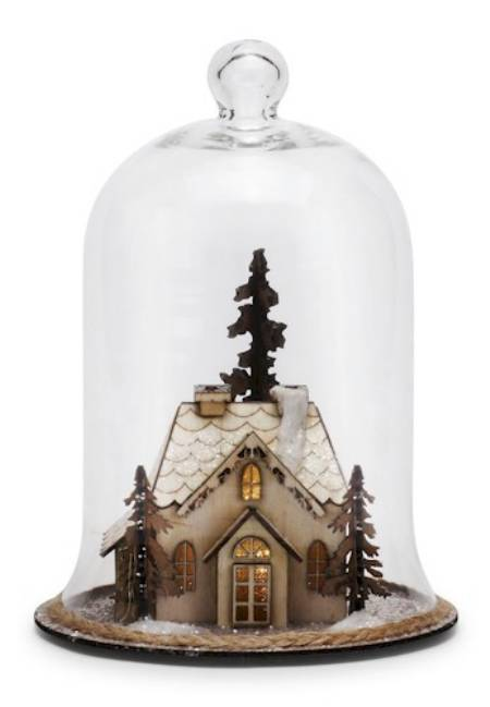 Lit House Scene Cloche - Large